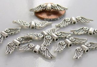 23mm Angel Wings Antiqued Silver Pewter Beads Charms 10 MOT