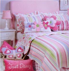 Merrill Stripe 5pc Teen Girl Twin Quilt Set Sham Pillow Pink Stripe