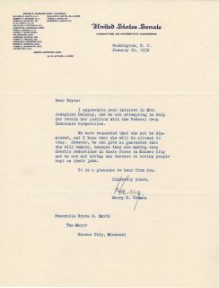 Harry Truman Signed TLS Letter 1939 U s Senate