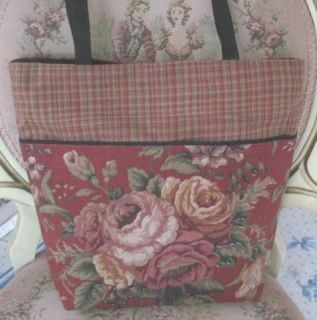 Burgundy w Lush Gold Roses Plaid Shoulder Bag Tote Handbag New