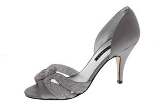 Caparros New Meredith Gray Silk Sequined Open Toe D Orsay Heels Shoes
