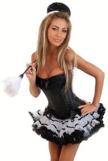 Sexy Maid Costume Black Boned Corset Ruffle Burlesque Skirt Tutu Size
