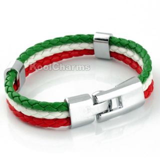 Mens Italy Flag Style Rope Surfer Stainless Steel Leather Bracelet