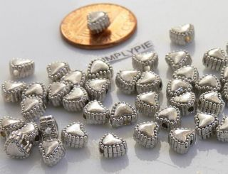 6mm Heart Antiqued Silver Metal Beads 25 MOT