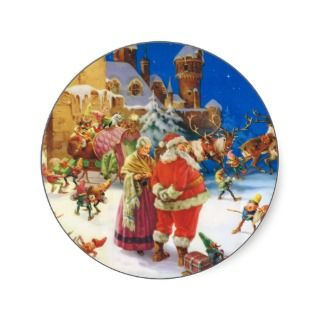 SANTA CLAUS & MRS. CLAUS AT THE NORTH POLE ROUND STICKER