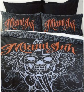 Black Miami Ink Sugar Skull Daggermouth Sword Beach Bath Towel Tattoo