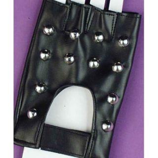 Black Silver Studded Gloves Half 80s Heavy Metal Rocker Rock Goth