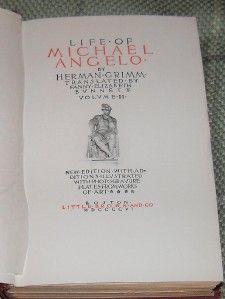 1896 Life of Michael Angelo 2 Volume Set Herman Grimm Illustrated