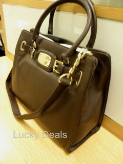 Michael Kors Hamilton Chain Bag Lock Tote Handbag Brown