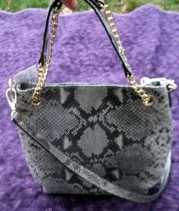 NWT MICHAEL KORS HANDBAG JET SET CHAIN DARK SAND SHOULDER PYTHON TOTE