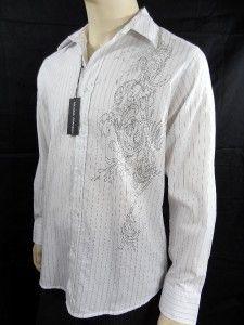 Mens MICHAEL BRANDON Sz L White w/ Pinstripe Button Down Shirt NWT $55
