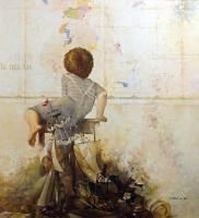 Michael Gorban Curiosity II Hand Signed Embellished Giclee on Canvas