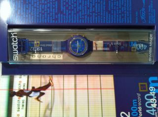 New Swatch Michael Johnson Gold Medal SCZ400 Watch 1997 Vintage Free