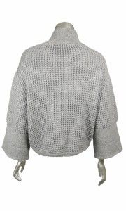Duffy Womens Gray Wool Cashmere Zipper 3 4 Sleeves Sweater Knit