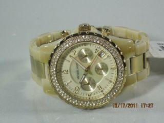 Michael Kors MK 5417 Womens Mother of Pearl Dial Horn Goldtone Band