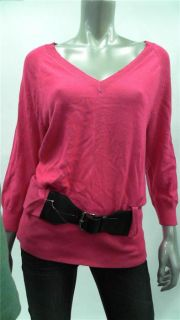 Michael Kors Misses Womens Knit V Neck Sweater Sz M Electric Pink