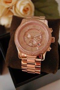 Michael Kors Rose Gold Runway Double Glitz Womens Oversized XL Watch