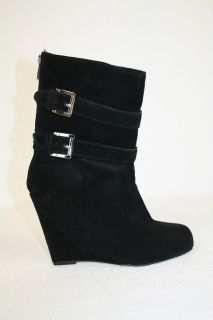 Michael Kors Black Suede Wedge Boots Heels Shoes 6 5