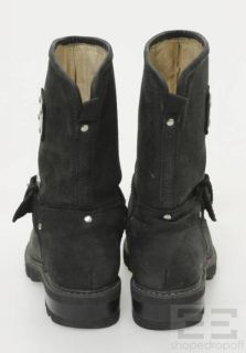 Michael Kors Black Nubuck Mid Calf Silver Buckle Motorcycle Boots Size