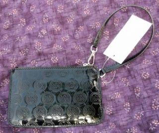 Michael Kors Jet Set Wristlet Nickel Black Monogram Mirror Metallic