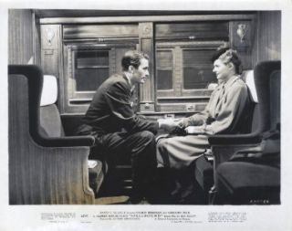 Orig Still Noir Ingrid Bergman Gregory Peck Hitchcock on Train