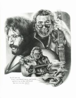 Jerry Garcia Grateful Dead Sketch Guitar Duran Music Poster Print