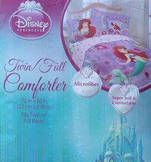 Disney Little Mermaid Ariel Purple Twin Comforter Sheets 4pc Bedding