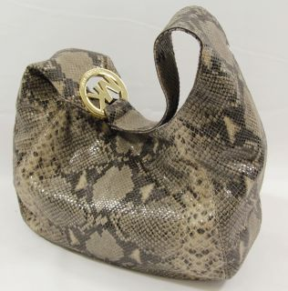 Michael Kors Python Embossed Leather Large Shoulder Hand Bag NS Fulton