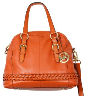 Michael Kors Gladstone Large Leather Satchel Crossbody Orange Bag New