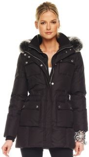 425 MICHAEL KORS BLACK FAUX FUR HOODED LONG PUFFER DOWN COAT JACKET L