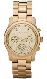 NIB Michael Kors Ladies Gold Tone Chronograph Runway Watch MK5055 38mm