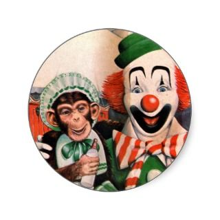 Retro Vintage Kitsch Circus Chimp and Clown Stickers