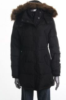 Michael Kors New Black Faux Fur Trim Full Zip Hooded Coat M BHFO