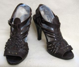 Michael Kors Dark Brown Woven Leather High Heel Shoe 10
