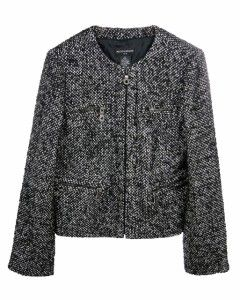 Sutton Studio Womens Black & White 8 Tweed Zipper Jacket Wool Blend