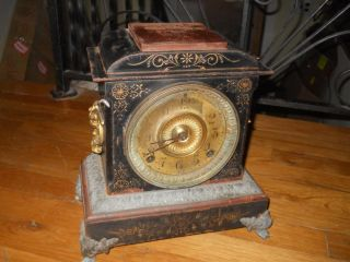 ANTIQUE CAST IRON MANTEL CLOCK ANSONIA USA CLOCK CO. NEW YORK RESTORE