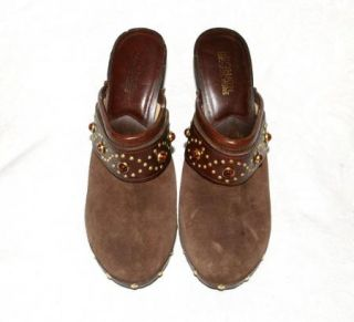Michael Kors Brown Suede Wood Heel Clogs Mules Womens 7 5 M