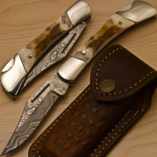 Fabulous Hand Made Damascus Pocket Folding Knife Samber Stag Antler BK
