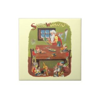 Vintage Christmas Santa with Elves in the Workshop Ceramic Tile