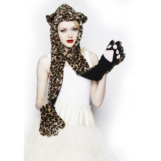 Hell Bunny New Womens Ladies Faux Fur Wolf Bear Panda Hood Hat Scarf