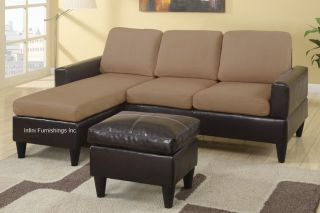 Small Microfiber Fabric / Faux Leather Sectional Sofa Couch Furniture