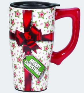 Christmas Ceramic Hot or Cold Beverage Travel Mug with Lid