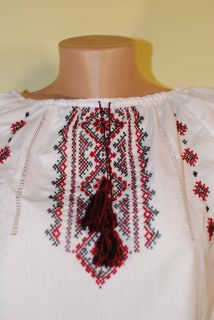Vintage Cotton Ukrainian Hand Embroidered Women Shirt Blouse