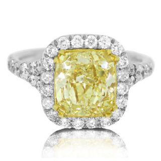 51 Ct Fancy Intense Yellow Cushion Cut Diamond Platinum Ring EGL USA