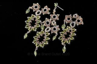 Miguel Ases 3pcs Silver Tone Boxed Chain Peridot Post Chandelier