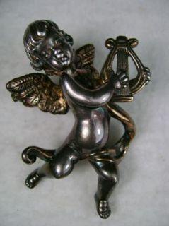 Huge 3 Antique Sterling Silver 925 Large Cherub Brooch Pin Angel Harp