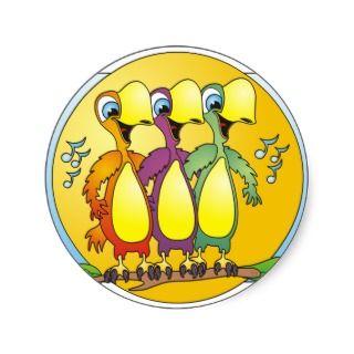 Singing Birds Cartoon Round Stickers