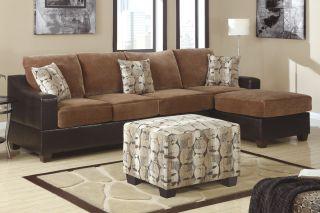 Cocoa Microfiber Sectional Sofa Set 2 Pc Set w/ Reversible Chaise