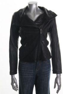 Michael Kors New Black Leather Long Sleeve Lined Zip Front Motorcycle