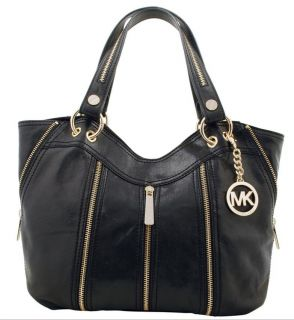 Michael Michael Kors Moxley Bag Tote in Black Leather Gold Zipper